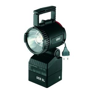 1 1147 009 001, Ex-Handscheinwerfer SEB 9 L für 4;8 V/ 9,5 Ah ladbare NiMH Batteriemit Halogen-Hüllkolbenlampe, Nebenlicht-Glühlampe, Streulinse und Batterie (ladbar
