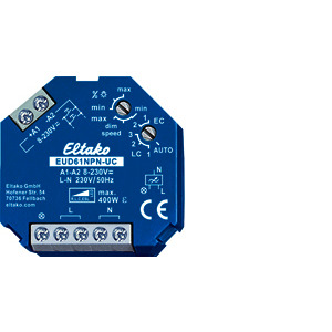 EUD61NPN-UC, ESL bis 500 W, mit Drehschaltern kann die Mindesthelligkeit und die Dimmgeschwindigkeit eingestellt werden, gleichzeitig wird die Dauer von Soft-Ein und Soft-Aus verändert, max. Dimmzeit