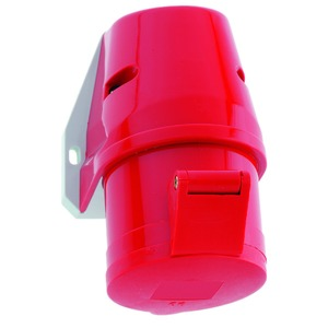 Wandsteckdose Quick-Connect 16A, 5p (3P+N+PE), 200/346 - 240/415V, 6h, IP44, rot