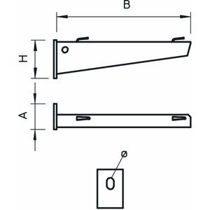 AWG 15 51 A2, Wand- und Stielausleger für Gitterrinne B510mm, V2A, A2, GB