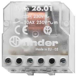 26.01.8.230.0000, Stromstoßschalter für Chassis oder UP-Dose, 1 Schließer 10 A, Aus/An, für 230 V AC