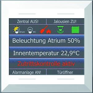 "LCN - GTS4DW, Glas-Farbdisplay 2,8"", mit schmalem Rahmen, weiß, mit 4 Tasten, integr. TS"