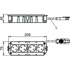AGB3H1 2W2W, Anschlussfertiger Gerätebecher halogenfrei