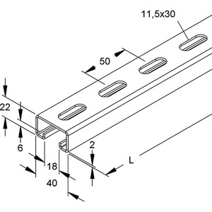 2986/400 FL, Ankerschiene, C-Profil, Schlitzweite 18 mm, 40x22x400 mm, gelocht, Stahl, feuerverzinkt DIN EN ISO 1461