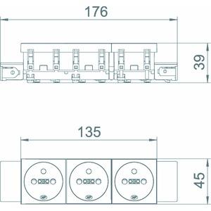 STD-F0C SWGR3, Steckdose 0°, 3-fach mit Erdungsstift, Connect 45 250V, 10/16A, PC, schwarzgrau, RAL 7021