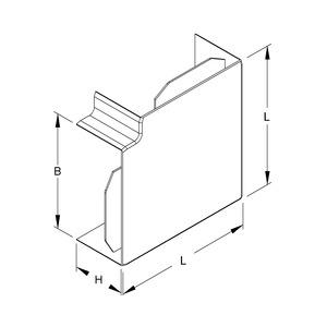 W60150.1, Vertikaleck 90°, mit Laschen, 60x150 mm, Kunststoff ABS, RAL 7030, steingrau