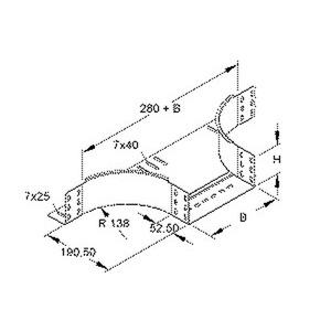 RTA 85.200 F, Anbau T-Stück für KR, 85x202 mm, mit ungelochten Seitenholmen, Stahl, feuerverzinkt DIN EN ISO 1461, inkl. Zubehör