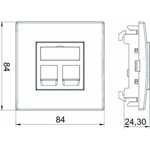 DTE-RW G2A1, Einbaueinheit Datentechnik für 2 Anschlussmodule Typ A 84x84x59mm, PC, reinweiß, RAL 9010