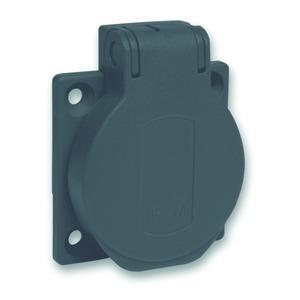 Schukosteckdose, schwarz, 2p+E, 10/16A, 250 V, für DE, IP54, 50x50mm