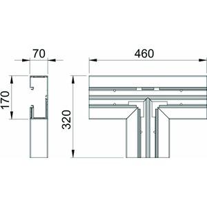 GK-T70170RW, T-Stück 70x170mm, PVC, reinweiß, RAL 9010