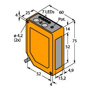Q60BB6LAF2000, Opto-Sensor, Laser-Reflexionslichttaster mit einstellbarer Hintergrundausblendung