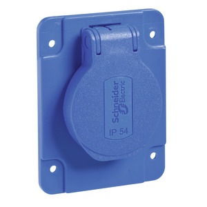 Schukosteckdose, blau, 2p+E, 10/16A, 250 V, für DE, IP54, 65x85mm