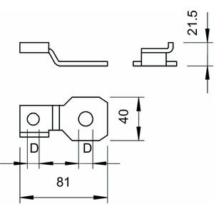 484 M20, Anschlusslasche für Parex Ø21mm, St, F