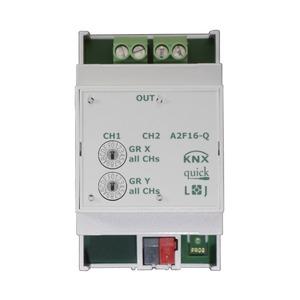 A2F16-Q, KNX quick Schaltaktor 2-fach, 3 TE  Schaltleistung 16A 250 VAC, C-Last 200µF