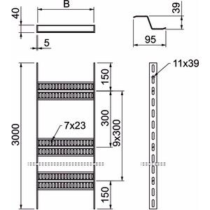 SLZ 1200 ALU, Kabelleiter Schiffbau mit Z-Sprosse 40x1210x3000, Alu, GB