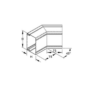 LUAB 60.200 E3, Außeneck 45° mit Deckel, 60x200 mm, Edelstahl, Werkstoff-Nr.: 1.4301, 1.4303