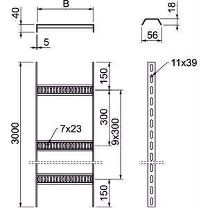 SL 62 100 A4, Kabelleiter Schiffbau mit Trapez-Sprosse 40x110x3000, V4A, A4, GB