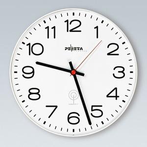 Funkuhr 1,5 V für innen, Ø 300 mm, weißes Kunststoffgehäuse, arabische Zahlen