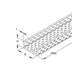 RL 85.200 F, Kabelrinne, 85x200x3000 mm, t=1,0 mm, gelocht, Stahl, feuerverzinkt DIN EN ISO 1461, inkl. Zubehör