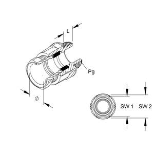 250/11, CONUS-Kabelverschraubung, Pg 11, Kabel-Ø 6-9 mm, Gewindelänge 8 mm, Kunststoff PS, RAL 7035, lichtgrau