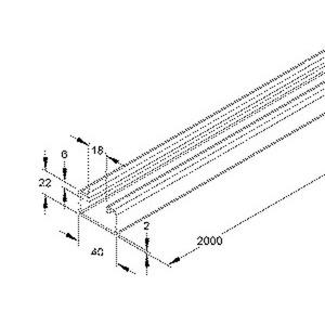 4528/2, Profilschiene, C-Profil SW 18 mm, 22x40x2000 mm, ungelocht, Stahl, feuerverzinkt DIN EN ISO 1461