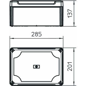 T 350 OE HD LGR, Kabelabzweigkasten geschlossen mit hohem Deckel 285x201x139, PP/PC, lichtgrau, RAL 7035
