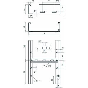 LG 640 VS 3 FT, Kabelleiter gelocht, mit VS-Sprosse 60x400x3000, St, FT