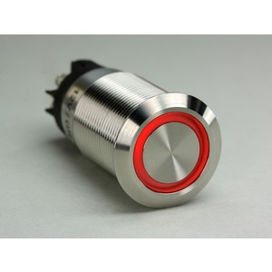 Drucktaster Edelstahl 24V LED Ring Rot