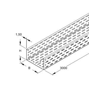 RS 110.300 F OV, Kabelrinne schwer, 110x300x3000 mm, t=1,5 mm, gelocht, Stahl, feuerverzinkt DIN EN ISO 1461, ohne Verbinder