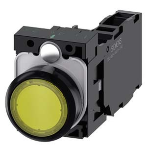 3SU1102-0AB30-1FA0, Drucktaster, beleuchtet, 22mm, rund, Kunststoff, gelb, 1S+1Ö, AC/DC 24V