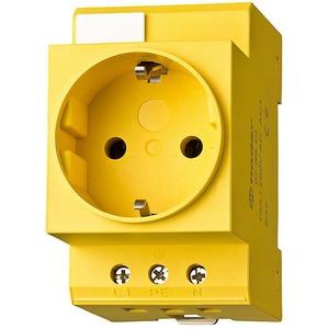 07.98.01, Steckdose für Reiheneinbau, Farbe gelb, für Wechselstrom 16 A 250 V AC1, mit Schutzkontakt, VDE-Zulassung