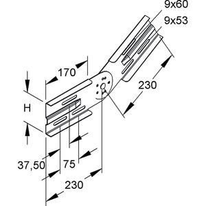 WSGV 105 F, Gelenkverbinder, vertikal, Höhe 106,5 mm, Stahl, feuerverzinkt DIN EN ISO 1461, inkl. Zubehör
