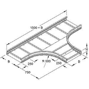 WRTR 105.200, T-Stück für WRL, 105x200 mm, rund, gesickt, ungelocht, Stahl, bandverzinkt DIN EN 10346