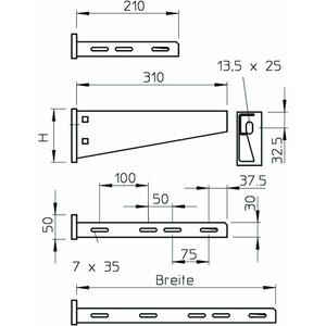 AW 55 71 A2, Wand- und Stielausleger mit angeschweißter Kopfplatte 710 mm, V2A, A2, GB