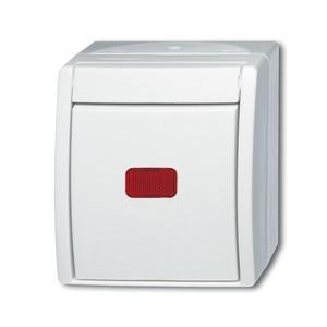 2601/6 SKW-54, Wippkontrollschalter, alpinweiß, Aufputz IP 44, ocean (IP 44)
