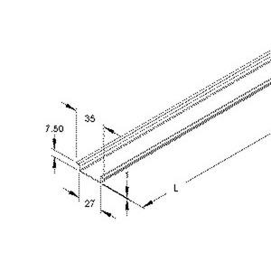 2933/2 SO, Tragschiene, Hut-Profil, 35x7,5x2000 mm, ungelocht, Stahl, bandverzinkt DIN EN 10346