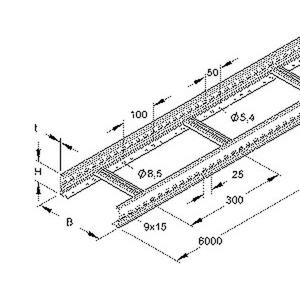 KL 60.203/3 E3, Kabelleiter, 60x200x3000 mm, t=1,5 mm, gelocht, SA 300 mm, Edelstahl, Werkstoff-Nr.: 1.4301, 1.4303