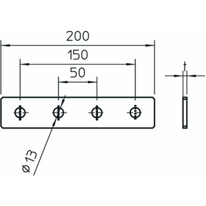 GMS 4 VP A2, Verbindungsplatte mit 4 Löchern 200x40x4, V2A, A2