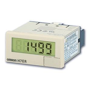 H7ER-NV, LCD-Drehzahlmesser, 48x24mm, grau, o. Hilfsspannung, 1/60 Impulse/U, In: 5..30VDC, PNP/NPN, IP66 (Front)