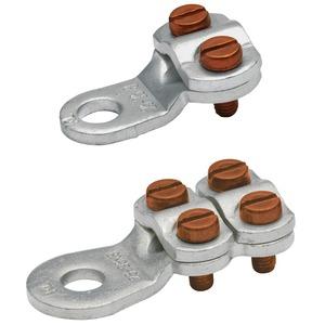 585R10BK, Klemmkabelschuh, gestanzt, 25 - 35 mm², M10, 4 Schrauben, blank