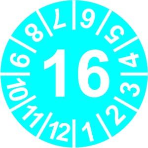 INP-C-16, Prüfplakette 16 blau(15mm),VPE:10Karten,1Karte=10Symbole Preis per VPE