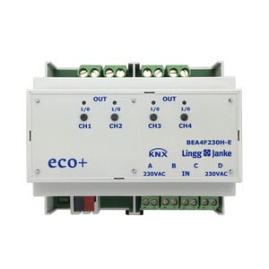 KNX eco+ Binär Ein-/Ausgang 4-fach, Signaleingang 230V AC/DC, Handbedienung, 6 TE; Schaltleistung 16A 250 VAC, C-Last 200µF