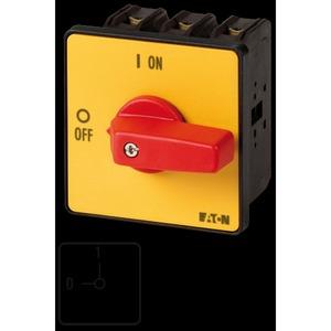 P3-100/E-RT, EIN-AUS-Schalter, P3, 100 A, Einbau, 3-polig, NOT-AUS-Funktion, mit rotem Knebel und gelbem Frontschild