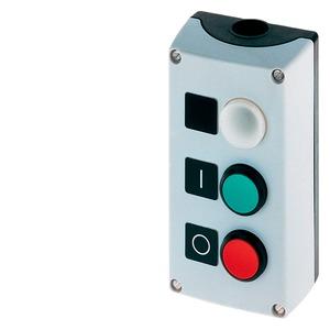 3SB3803-0DA3, Drucktaster gekapselt, C=Leuchtmelder, B=Druckknopf grün, Schild I, A=rot 0