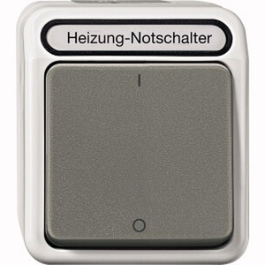 Heizungs-Notschalter, Aus, 3-polig mit Kontrolllicht, lichtgrau, AQUASTAR