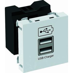 MTG-2UC2.1 RW1, USB Ladegerät mit 2.1 A Ladestrom 45x45mm, PC, reinweiß, RAL 9010