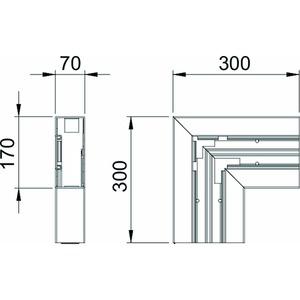 GK-F70170RW, Flachwinkel 70x170mm, PVC, reinweiß, RAL 9010