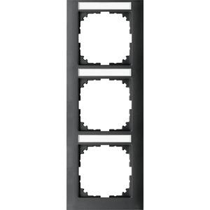 M-Pure-Rahmen, 3fach m. Beschriftungsträger, senkr. Montage, anthrazit, M-Pure