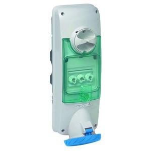 Wandsteckdose verriegelt, 63A, 3p+E, 200-250 V AC, IP65, wall