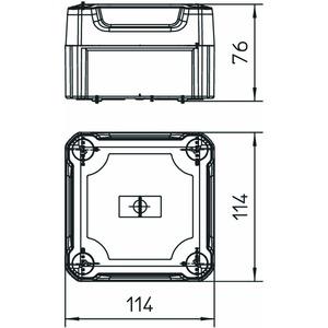 T 60 OE HD TR, Kabelabzweigkasten geschlossen mit hohem transparentem Deckel 114x114x76, PP/PC, lichtgrau, RAL 7035